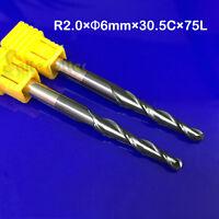2Pc R2*D6*30.5*75L HRC55 2F Taper Ball Nose Endmill CNC Bit Milling Cutter Tool