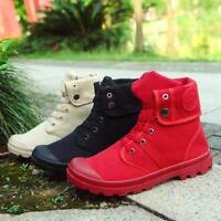 Mens Boys Canvas High Top Trainers Military Army Ankle Boots Outdoor Work Shoes