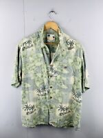 Banana Cabana Men's Vintage Short Sleeve Casual Hawaiian Shirt Size XL Green
