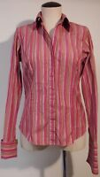 PINK THOMAS LONDON WOMENS PINK 100% COTTON M COLORS PINSTRIPE FRENCH CUFFS 12