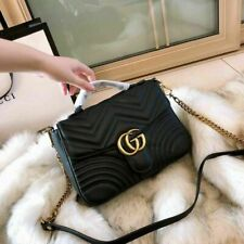 GUCCI Hibiscus Black Small Bag Leather GG Top Handle Handbag Marmont Matelasse