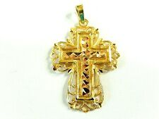 Filigree Cross Pendant 34mmx20mm Solid 14k Yellow Gold Diamond-Cut