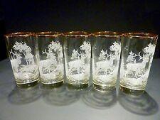Set of 5 LIBBEY ELK HIGHBALL GLASSES TUMBLERS  GOLD RIM