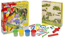 25pc Kids Play Set di vasche & Shaping impasto Craft SAFARI PARK Scenery Bambini Natale