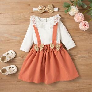 Newborn Infant Baby Girls Solid Romper Tops+Suspender Skirt Headband Outfits Set