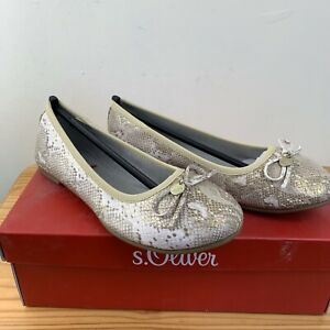 S.Oliver Womens Closed Toe Ballet Shoes Gold UK4