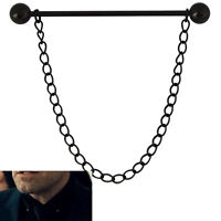 Mens 5.5CM Black Barbell Collar Pin - Removable Chain - Stainless Steel Tie Bar