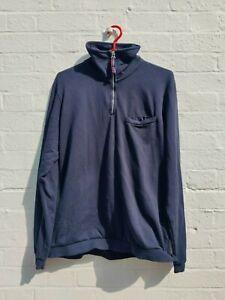 Universal Works Half Zip Navy Sweatshirt in Medium - Excellent Condition