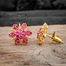 Gold Plated Sunflower Stud Earrings Synthetic Ruby Women Stud Ear Jewelry Gift