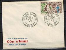 1961-Cote D'Ivoire-Enveloppe FDC/1°Jour-Journée du Timbre -Obl.Abidjan-Y/t.199