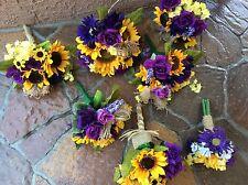 Wedding flowers bridal bouquets decorations sunflowers regency purple