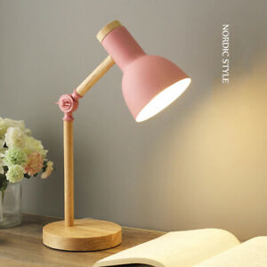 Modern Wooden LED Foldable Desk Table Lamp Lampshade Dimmable Lights Eye Protect