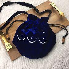 Velvet Cinch Purse Bag Celestial Embroidered Festival Blue