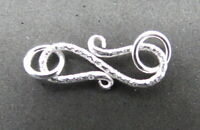 4 Pieces S Hook Clasps 925 Sterling Silver Hammered Clasp Bali Bead 20mm Long
