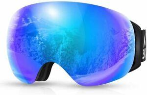 Ski Goggles Frameless Snowboarding Glasses Anti Fog Lens UV400 Protection OTG