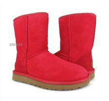 UGG Classic Short II Ribbon Red Suede Fur Boots Womens Size 6 *NIB*