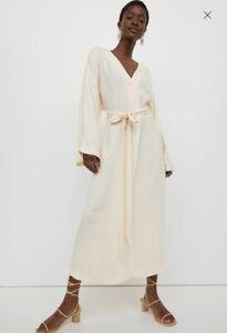 H&M Trend Cream Beige Midi Kaftan Dress - Size Large Bnwot *sold out bloggers*