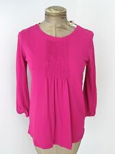 VGC J Crew Fuchsia Pink Cotton Jersey Knit Tunic Top Tux Pleats Elastic Cuffs S
