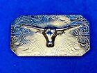 vintage raised silver tone Texas longhorn engraved flower swirl belt buckle