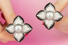 Tahitian Silver Pearls and Pave Set Clear Cubic Zirconia Flower Cluster Earrings