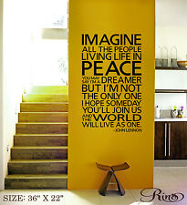 IMAGINE Wall Art Vinyl Decal sticker world peace John Lennon quote the beatles