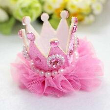 Bebés Niñas Princesa Horquilla Corona Rosa Perla Clip Pinza De Pelo Para Fiesta