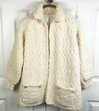 Vintage Hand Knit Ivory Chunky Knit Jacket Coat Cardigan Lined Oversized Small