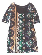 RIVER ISLAND UK 10 EUR 38 STUNNING AZTEC SEQUIN PARTY BODYCON DRESS LOW BACK