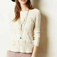 Anthropologie Meadow Rue Sweater Top Cream Acolyte Lace Panel Pullover Medium