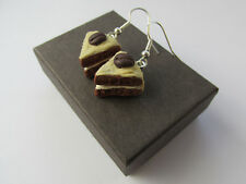 Handmade Unusual Fimo True Coffee Shot Espresso Sponge Cake Inspired Earrings
