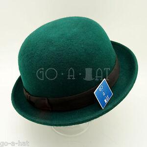 FASHION Soft Wool Felt Women Bowler Ribbon Derby Men Top Hat NEW   57cm   Green