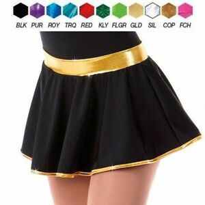 Sidelines Dance Costume TAP CIRCLE SKIRT Black with CHOICE of Colored Trim New