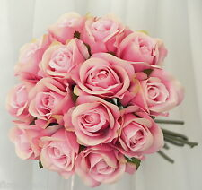 SILK ROSE ROSES PINK BABY PINK WEDDING FLOWERS BOUQUET ARTIFICIAL PRE MADE POSY