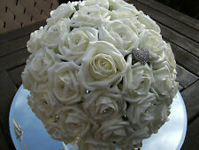 Wedding flowers ivory rose, diamante, bride, maid, flower girl