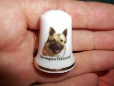 vintage Norwegian Elkhound Dog Collectible ceramic Thimble figurine Lim.Edition