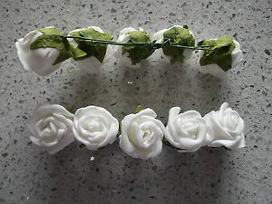 10 white foam wired mini roses - favours, cakes, buttonholes, table decorations