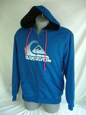 New Mens Quiksilver Small Blue Sherpa Lining Jacket Hoody $70 Heavy