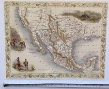 Old Antique vintage colour map 1800s: Mexico, California, Texas: Tallis Reprint