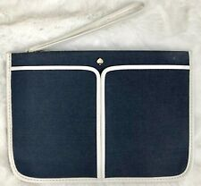 Kate Spade New York Pouch Cosmetic Bag Zipper Navy Blue Pencil Pouch Travel