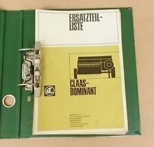 CLAAS Dominant Ersatzteilliste Hochdruckpresse 1977