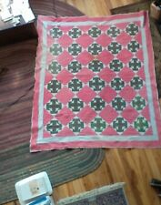antique all feedsack Fabric hand stitched quilt Cross T Pattern RARE vintage