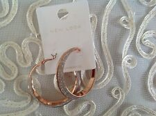 "New Look 2"" Diameter Chunky Look Hoop Rose Gold Earrings New"
