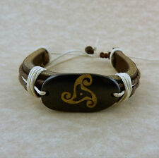 Triskele Leather bracelet Adjustable Unisex Celtic
