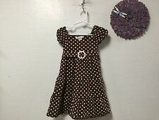 Baby girl dress MAGGIE & ZOE size 3T brown pink beige ties in the back 39