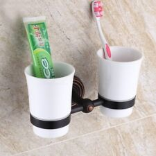 Oil Rubbed Bronze Toothbrush Holder Double Ceramic Cup Holder Wall Mounted