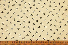 ANCHOR NAUTICAL DESIGN  - PRINTED POLY COTTON FABRIC
