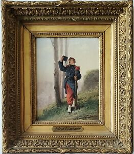 ALFRED EMILE GAUBAULT Antique Oil Painting of a Soldier at Franco-German War