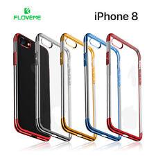 Funda transparente para iPhone 8 de silicona FLOVEME con bordes color metalizado