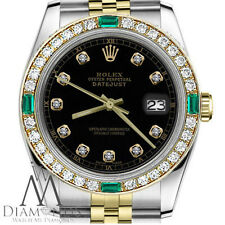 Unisex Rolex Watch 36mm Datejust 2 Tone Black Color Dial with Emerald & Diamond