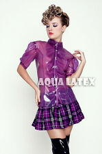 Nobel Women Blouse Rubber Latex Top Gummi Ruffle Frills Puff Sleeves Snap Button